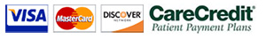 We accept Visa, Mastercard, Discover and CareCredit
